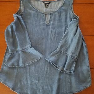 Joe Fresh chambray cold shoulder top